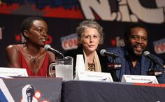 Danai Gurira, Melissa McBride, and Chad Coleman speak at 'The Walking Dead' NY Comic Con panel on October 11, 2014 in New York City. (Photo by Robin Marchant/Getty Images for AMC)
