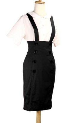 Pencil Skirt - High Waisted Suspender Skirt - Black (Large Size (38)) Hey Viv !. $24.99