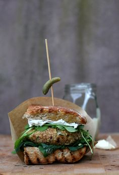 Leftover risotto burger with walnut oat crunch & goatcheese