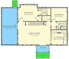Plan Cozy 2 Bed Farmhouse Cottage With Loft 2 Bedroom House Plans, Cottage Floor Plans, Small House Floor Plans, Cottage Style House Plans, Cabin House Plans, Beach Cottage Style, Tiny House Cabin, Cottage House Plans, New House Plans