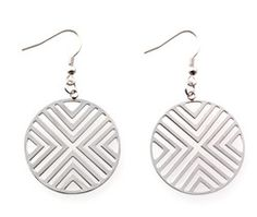Geo earrings with stainless steel filigree pattern embody the stylish blending of fashion and design. $24.00