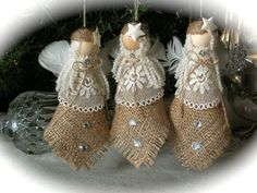 Burlap Christmas Ornaments | Christmas Ornament burlap angel set of 3 by Mydaisy2000 on Etsy, $23 ...