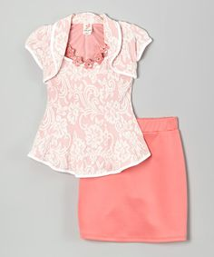 Another great find on #zulily! Coral Floral Shrug Set - Girls #zulilyfinds I like this as a church outfit for a girl