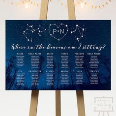 Starry Night Wedding Seating Chart for a star or galaxy themed reception - Check out more designs at WeddingSeatingCo.com