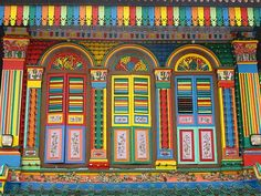 Colorful doors. Little India, Singapore