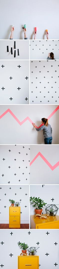 This DIY is super easy and super awesome. All you need is some Washi Tape and a wall and you are good to go! We sell 15mm, 50mm, and 100mm at the store in a crazy amount of colors and patterns! The possibilities are endless!    Supply List: + washi tape + empty wall! 1. Clear out and wipe down the wall you'd like to use. I'd suggest testing a piece of tape on your wall prior to taping your entire wall. Sometimes certain colors don't stick to certain walls. You won't know until you try it…