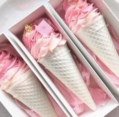 pink wedding favors shaped like ice cream by Nectar & Stone