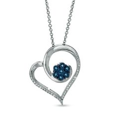 1/10 CT. T.W. Enhanced Blue and White Diamond Heart with Flower Pendant in Sterling Silver - Zales