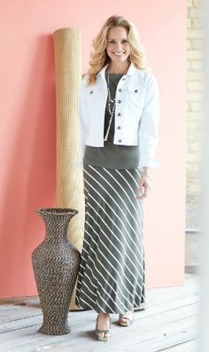 Maxi Dress They're a great alternative when a sun dress feels too bare. The maxi skirt is ladylike, and it gives you great leg coverage. Plus, a maxi makes you feel so pretty. This asymmetrical striped maxi is perfect – casual, flirty and fun! (Fabulous after 40)