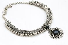 Silver Finish Tribal Choker Necklace