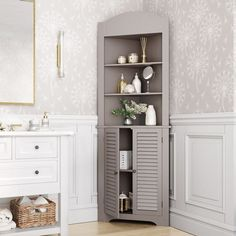 Shop RiverRidge Ellsworth Tall Corner Etagere - Overstock - 8316257 - White Small Corner Cabinet, Corner Linen Cabinet, Bathroom Corner Cabinet, Corner Storage, Corner Shelves, Corner Cabinets, Corner Hutch, Linen Cabinet In Bathroom, Tall Corner Shelf