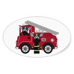 Cute Cartoon Zebra Fireman Oval Sticker