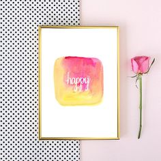 happy watercolor tumblr pintrest quote typographic Print word art pinterest dorm room girly quote boho tumblr room decor framed quotes makeup,room,interior,lol,funny,pretty,cute
