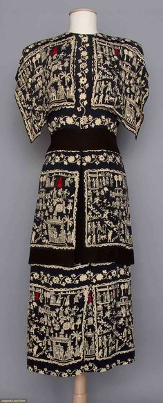 Adrian Silk Print Afternoon Dress, 1940s, Augusta Auctions, April 9, 2014 - NYC, Lot 301