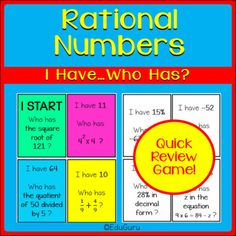 Rational Numbers I have ... who has Game is a WINNER! 74 cards (37 color and 37 black and white). The purpose of the game is to practice solving questions that involve rational numbers. Before students do the activity, it is important to do a quick review on what a rational number Rational Numbers, Cooperative Learning, Fifth Grade, Student Engagement, Task Cards, Math Activities, Mathematics, Teaching Resources, This Or That Questions