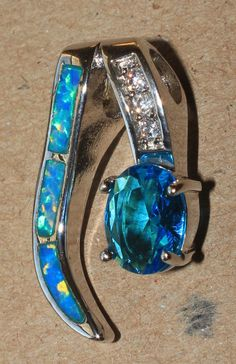 blue fire opal topaz Cz necklace pendant  Gemstone silver jewelry cocktail ZZ #Pendant