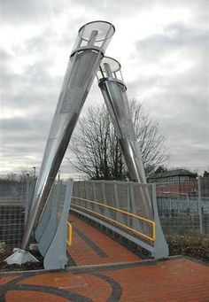 Bridge to the Rufford Road car park at Stourbridge Junction station. The uprights are champagne flutes in recognition of Stourbridge's former glass industry.