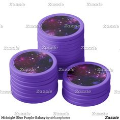 Midnight Blue Purple Galaxy Poker Chip Set