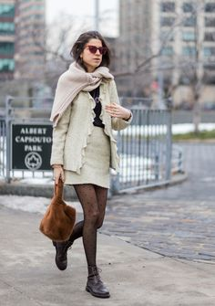 Leandra Medine wearing a beige blazer and skirt tights outside Michael Kors on February 15 2017 in New York City Black Tights Outfit, Black Sweater Dress, Black Sweaters, Polka Dot Tights, Polka Dots, Fresh Outfits, Fall Outfits, Church Outfits, Sporty Chic Outfits