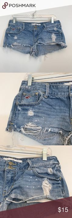 Hollister Distressed Denim Shorts Size 29 Hollister destroyed denim shorts size 29. Waist is 16.5 across, rise is 8.5, inseam is 2. Open to offers and 30% off bundles! *R10 Hollister Shorts
