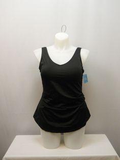 PLUS SIZE 18 Women 1PC Sarong Front Swimsuit BEACH BELLE Solid Black Side Shirri #BeachBelle #Sarong