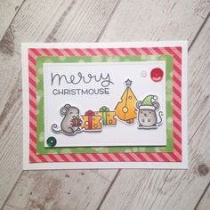 Exclusive SSS Stamptember Lawn Fawn Merry Christmouse card.