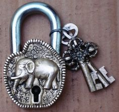 Heavy Duty long Shackle Antique Brass pad lock having elephant design | Statue India