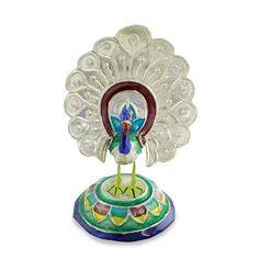 Handcrafted Meenakari Enamel on Sterling Silver Figurine - Varanasi Peacock | NOVICA