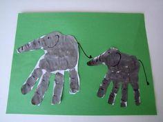 Hand print elephants