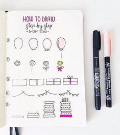 Birthday Bullet Journal, Bullet Journal Notebook, Bullet Journal Layout, Bullet Journal Ideas Pages, Bullet Journal Inspiration, Bullet Journals, Doodle Drawings, Easy Drawings, Birthday Doodle