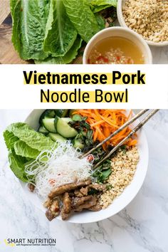 Bun Thit Nuong… carmelized pork, pickled carrots, fresh herbs, crunchy veggies, salty peanuts, Supper Recipes, Pork Recipes, Asian Recipes, Ethnic Recipes, Healthy Eating Recipes, Healthy Meals, Delicious Recipes, Healthy Food, Meal Ideas