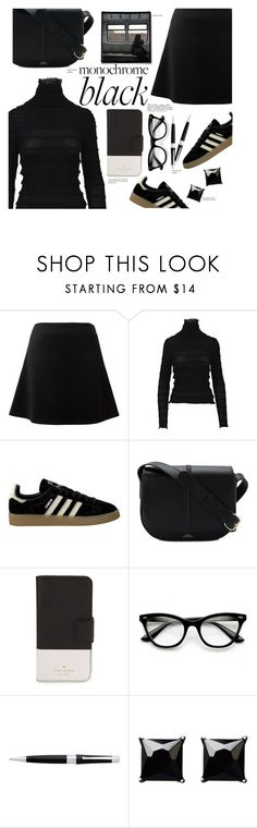 """monochrome black n0.3"" by paperdollsq ❤ liked on Polyvore featuring Valentino, adidas, A.P.C., Kate Spade, ZeroUV, Cross, Witchery, allblack and messangerbags"