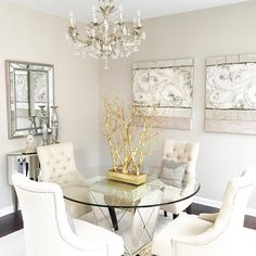 """Z Gallerie on Instagram: """"#ZGallerieMoment: @meganmcmanama's #AllWhiteEverything dining room is so bright and airy! If you decide to go with this palette, be sure to add plenty of rich textures and of course, mirrors + gold never hurts!"""""""