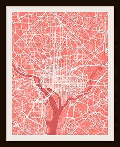 "@piechowskillc Washington D.C. City Print Map Art by Map Wall Art 11"" x 14"". www.cocorina.com"
