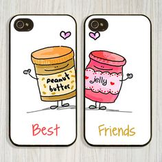 iPhone Set of BFF Best Friends Forever Lover Snap on Rubber Case Cover for iPhone 5 (Peanut Butter and Jelly Are Best Friends)