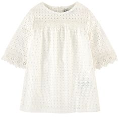Cotton lace Voile lining Light item Flared hem Crew neck Long sleeves Front pleats Invisible zipper at the back Openwork patterns Flower lace - 48,00 €