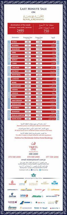 أفضل الأسعار على تذاكر السفر مع الملكية الأردنية