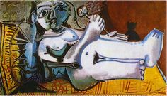 Lying female nude with cat - Pablo Picasso 1964