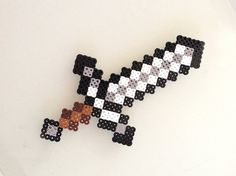 Minecraft Iron Sword made with Perler Beads on Etsy, $10.00