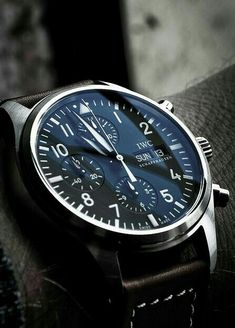 "Daily Man Up Photos) Ever been told to ""man up""? Very few men ever ""man up"" and it's about time we do. I'm not talking about some testosterone-fueled call to a. Iwc Watches, Cool Watches, Wrist Watches, Ladies Watches, Breitling, Iwc Pilot Chronograph, Man Up, Luxury Watches For Men, Beautiful Watches"