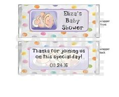 FREE FOILS Personalized Polka Dot Cooing Baby Me BABY SHOWER candy bar wrappers