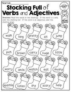 Verbs and Adjectives (color by the code)