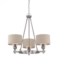 A.D. Cola Lighting in Natick, Massachusetts, United States,  DYED, Three Light Nickel Drum Shade Chandelier, Metro, Brushed Nickel