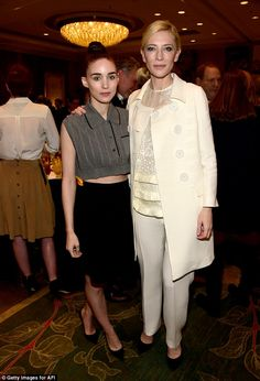 Together again: The actress posed up alongside her Carol co-star Rooney Mara at the event...
