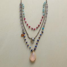 """THREE AMIGOS NECKLACE--Faceted labradorite, hessonite garnet and pink chalcedony framed in 24kt gold plate, play nice on a multi-strand gemstone and gold plate necklace shining with lapis, ruby, apatite and tanzanite. Sterling silver chain and clasp. 17""""L."""