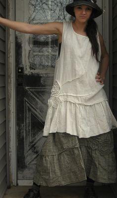 Plaid Linen Long Rose Pintuck Skirt S by sarahclemensclothing