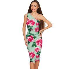 Sweetheart Layla Green Flower Print Bodycon Dress - Women