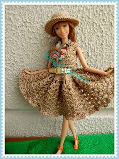 #Cléa5 #Barbie #Crochet #Doll Muñeca #Vestido #Dress #Chapéu  #Hat rachelcrochet.wordpress.com #RaquelGaucha