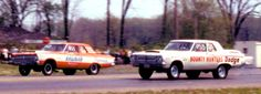 1965 NASCAR Nationals at Dragway 42.Bob Banning and the Bounty Hunters Dodge vs. Peewee Wallace and the Virginian Plymouth.
