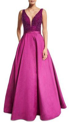 Shop Now - >  https://api.shopstyle.com/action/apiVisitRetailer?id=609588227&pid=uid6996-25233114-59 Jovani Sleeveless Embellished Silk Taffeta Ball Gown, Magenta  ...